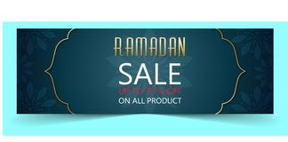 Bannière de vente de Ramadan illustration stock