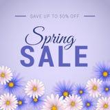 Bannière de vente de ressort avec la belle fleur blanche et de lavande Calibre de bannière de Web illustration libre de droits