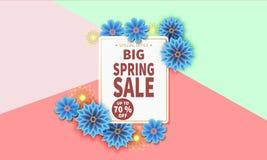 Bannière de vente de ressort avec la fleur colorée Images libres de droits