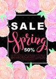 Bannière de vente de ressort avec les fleurs roses sur le fond noir Vecteur Photographie stock libre de droits