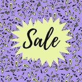 Bannière de vente sur le fond bleu avec de diverses chaussures Pour l'annonce de magasin, concepts de mode illustration stock