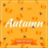 Bannière de vente de vecteur de feuillage d'automne d'aquarelle Photo stock