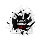 Bannière de ventes de Black Friday avec des lignes et des triangles Photo stock
