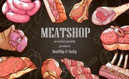 Bannière de viande fraîche, produit de qualité de la meilleure qualité sur le noir illustration de vecteur
