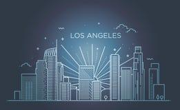 Bannière de ville de Los Angeles dans la ligne plate style à la mode Schéma ville de Los Angeles Photos libres de droits