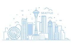 Bannière de ville de Seattle dans la ligne plate style à la mode Schéma ville de Seattle illustration stock