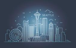 Bannière de ville de Seattle dans la ligne plate style à la mode Schéma ville de Seattle Photographie stock libre de droits