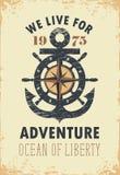 Bannière de voyage avec l'ancre, la barre et la Rose du vent illustration stock