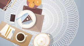 Bannière de vue d'angle de dessus de Tableau de gâteau de tasse de café de coupure Photo stock