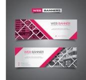 Bannière de Web avec la conception, le rose et le blanc abstraits de vecteur photographie stock
