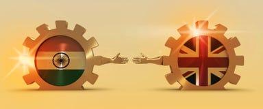 Bannière de Web, calibre de disposition d'en-tête Relations adroites et économiques entre l'Inde et la Grande-Bretagne Photos stock