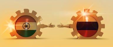 Bannière de Web, calibre de disposition d'en-tête Relations adroites et économiques entre l'Inde et la Russie Images libres de droits