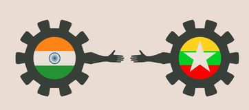 Bannière de Web, calibre de disposition d'en-tête Relations adroites et économiques entre l'Inde et le Myanmar Photo libre de droits