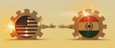 Bannière de Web, calibre de disposition d'en-tête Relations adroites et économiques entre les Etats-Unis et l'Inde Image libre de droits