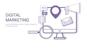 Bannière de Web de concept de stratégie d'entreprise constituée en société de vente de Digital avec l'espace de copie Image stock