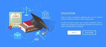 Bannière de Web d'éducation avec le permis d'avocats, livres illustration de vecteur