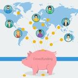 Bannière de Web de concept de Crowdfunding illustration de vecteur