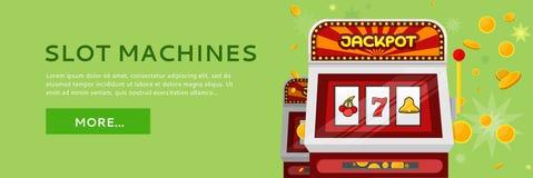 Bannière de Web de machine à sous d'isolement sur le vert illustration libre de droits