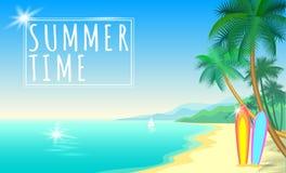 Bannière de Web de Palm Beach de mer d'été Poncez le bateau chaud de panneaux de ressac de jour de sunshite de vague d'eau bleue  Photographie stock libre de droits