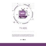 Bannière de Web de promotion de vente de publicité d'annonces de TV avec l'espace de copie Photos libres de droits
