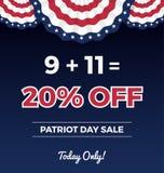 Bannière de Web de promotion des ventes de jour de patriote illustration stock