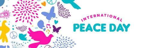 Bannière de Web de jour de paix du monde des icônes d'oiseau de colombe illustration libre de droits
