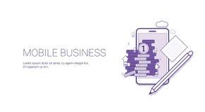 Bannière de Web de secteur d'affaires de la téléphonie mobile avec le concept de gestion du marketing de Digital de l'espace de c Image stock