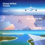 Bannière de Web sur le thème du voyage en l'avion images libres de droits