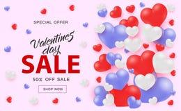 Bannière de Web de Valentine Day Sale avec les coeurs rouges et bleus blancs sur le fond rose illustration de vecteur
