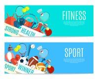 Bannière des boules de sport et de l'équipement de jeu Affiche avec le sport des textes, forme physique pour la bannière, autocol Image stock