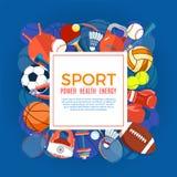 Bannière des boules de sport et de l'équipement de jeu Affiche avec le sport des textes pour la bannière, autocollant, Web Outils Photo stock