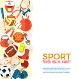 Bannière des boules de sport et de l'équipement de jeu Fond pour les affiches, les insectes de publicité, la brochure ou le livre Image stock