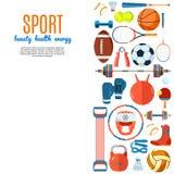 Bannière des boules de sport et de l'équipement de jeu Fond pour les affiches, les insectes de publicité, la brochure ou le livre Photos stock