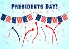 Bannière des Présidents Day avec la guirlande colorée et le salut Illustration de vecteur pour le festival patriotique Photos libres de droits