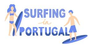 Bannière des surfers avec des planches de surf au Portugal Lettrage de vecteur illustration libre de droits