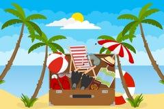 Bannière des vacances d'été Une valise de touristes avec des choses pour le voyage et la récréation illustration de vecteur