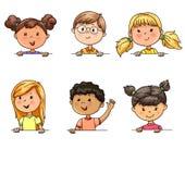 Bannière différente de prise de nationalités d'enfants drôles de portraits illustration libre de droits