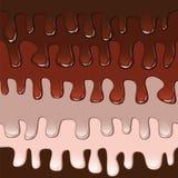 Bannière douce avec du chocolat et le caramel d'égoutture Photo libre de droits