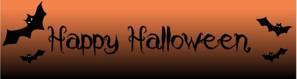 Bannière effrayante heureuse de Halloween avec des battes photographie stock libre de droits