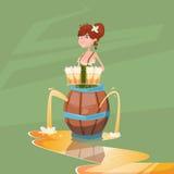 Bannière en bois de festival d'Oktoberfest de baril de Hold Beer Glasses de serveuse de fille Images libres de droits