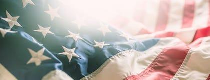 Bannière en gros plan de bannière étoilée de drapeau américain photographie stock libre de droits