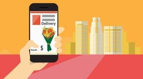 Bannière en ligne de la livraison de fleur d'application futée de téléphone de cellules de prise de main Photographie stock libre de droits