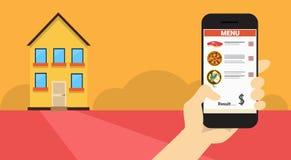 Bannière en ligne de la livraison de nourriture d'application futée de téléphone de cellules de prise de main Image stock