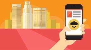 Bannière en ligne de service de taxi d'application futée de téléphone de cellules de prise de main Photos stock