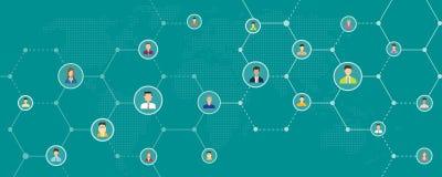 Bannière en ligne et sociale d'affaires globales de connexion réseau de fond illustration stock