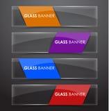 Bannière en verre avec le ruban de couleurs illustration libre de droits