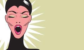 Bannière ennuyée de style de bande dessinée d'art de bruit de femme illustration de vecteur