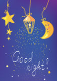 Bannière et carte de bonne nuit Images libres de droits
