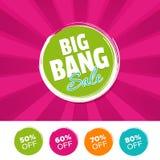 Bannière et 50% de couleur de vente de Big Bang, 60%, 70% et 80% outre des marques Illustration de vecteur illustration de vecteur