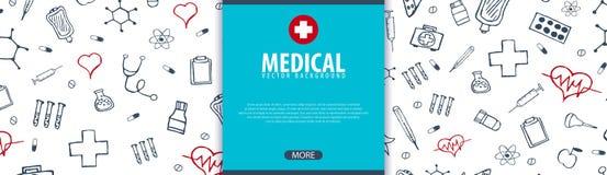 Bannière et fond médicaux Soins de santé Illustration de médecine de vecteur illustration stock